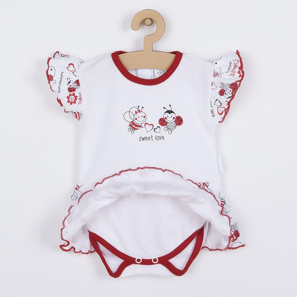 Dojčenské body s krátkym rukávom a volánikom New Baby Lienka 80 (9-12m)