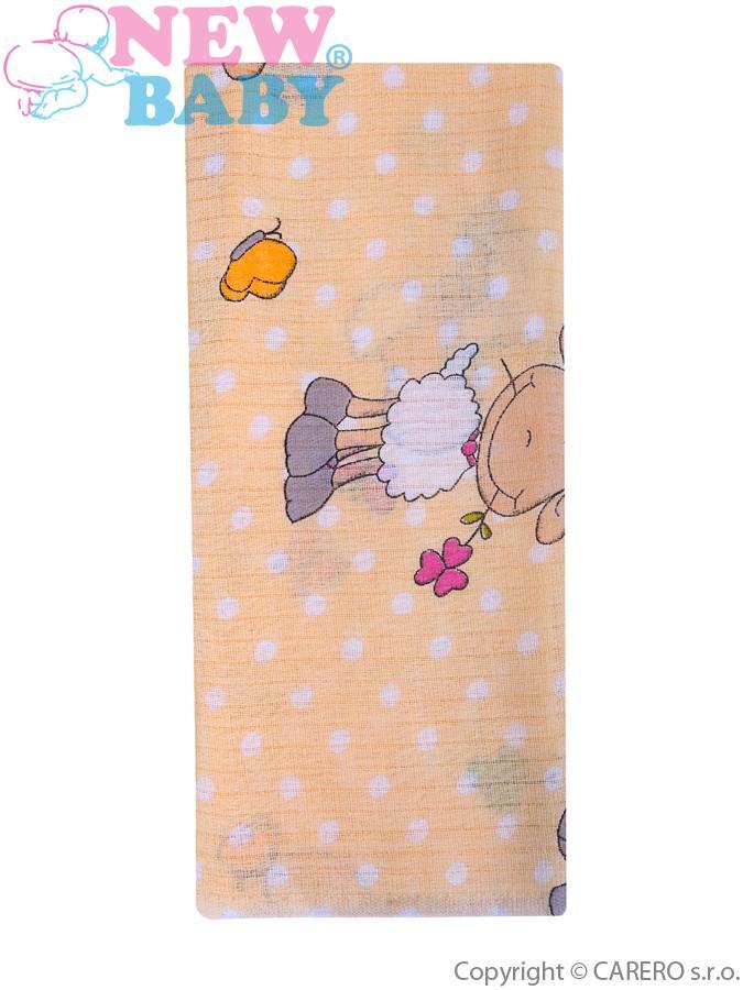 Bavlnená plienka s potlačou New Baby žltá s ovečkou