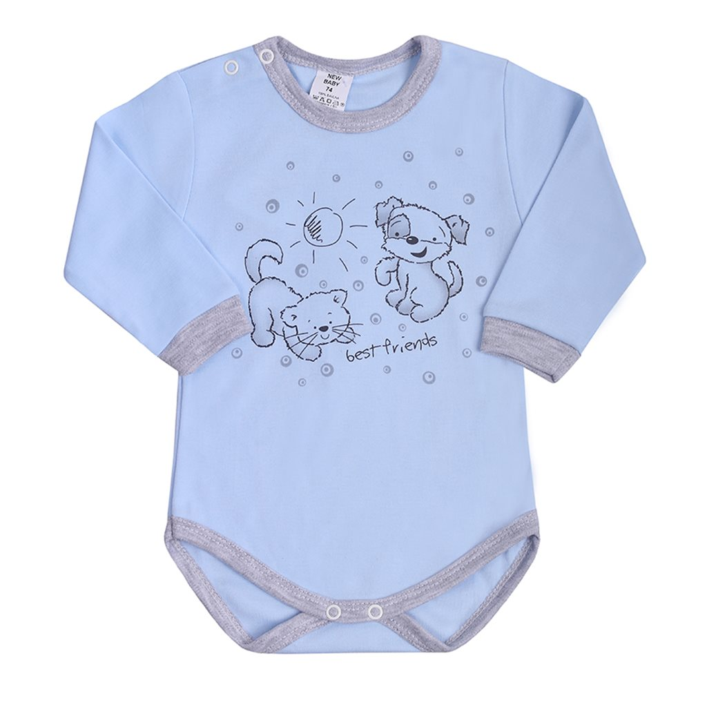 Dojčenské body s dlhým rukávom New Baby Kamaráti modré 80 (9-12m)