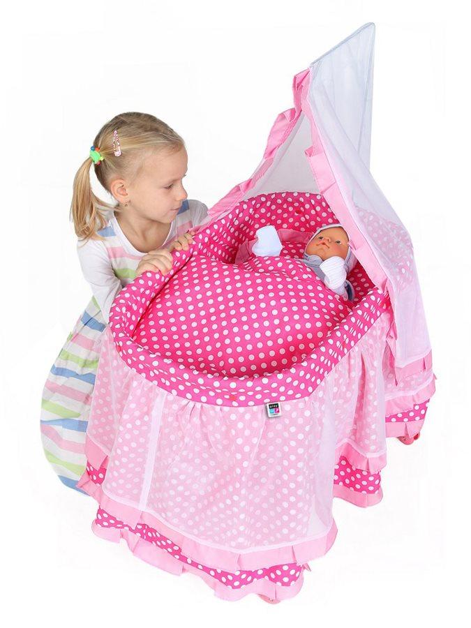 Košík pre bábiky PlayTo Nikolka svetlo ružový