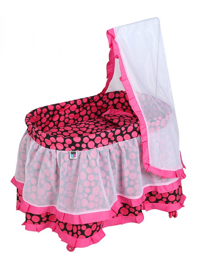 Košík pre bábiky PlayTo Nikolka ružový