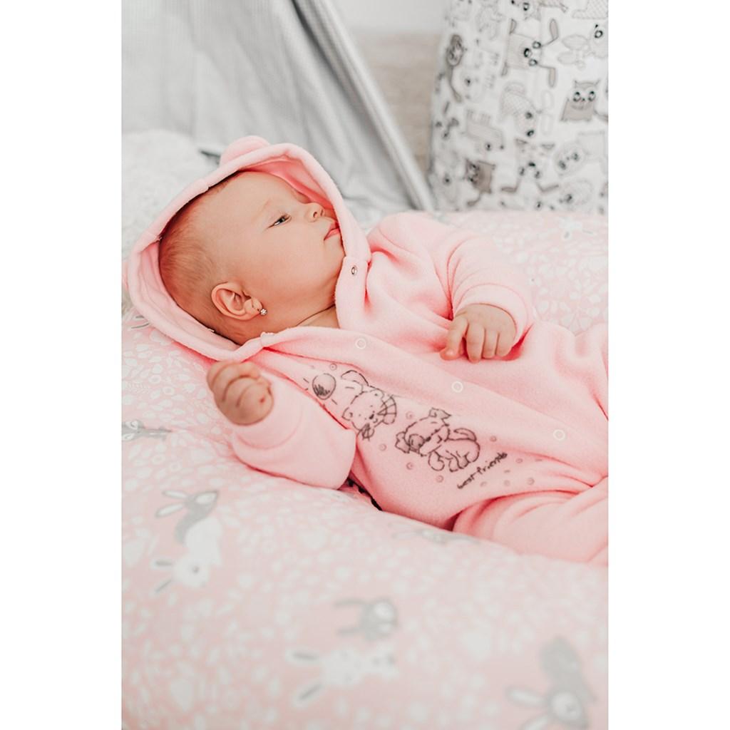 Fleecový overal New Baby Kamaráti ružový 74 (6-9m)