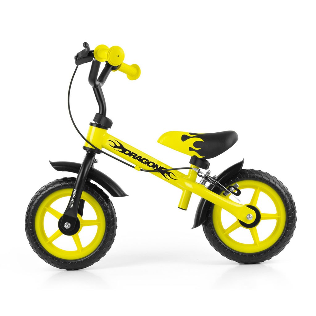 Detské odrážadlo kolo Milly Mally Dragon s brzdou yellow