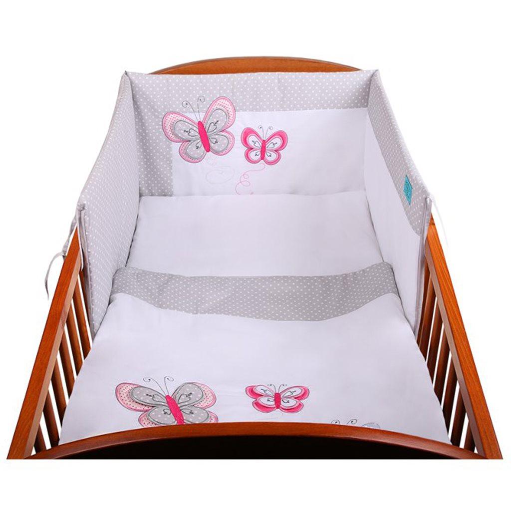 3-dielne posteľné obliečky Belisima Motýlik 90/120 šedé