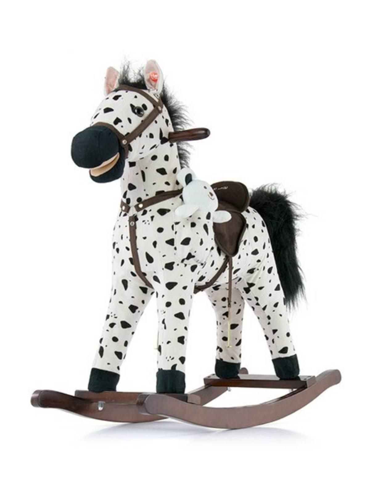 Hojdací koník s melódiou Milly Mally Mustang bielo-čierny puntíkovaný